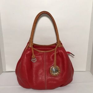 Brighton Red Pebbled Leather Tan Trim Shoulder Bag